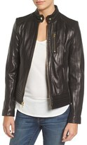 MICHAEL Michael Kors Women's Band Collar Front Zip Leather Jacket