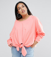 Asos Sweatshirt With Knot Front In Washed Neon