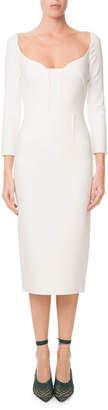 Roland Mouret Ardon Long-Sleeve Viscose Crepe Midi Dress