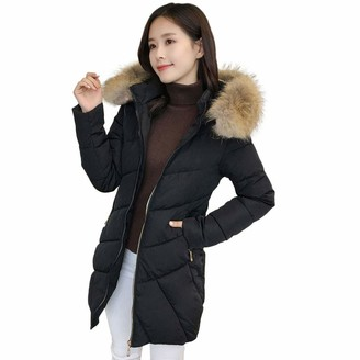 Homebaby Women Jacket HOMEBABY Long Quilted Padded Winter Jacket Coat Faux Fur Hood