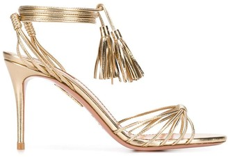 Aquazzura metallic ankle tie sandals
