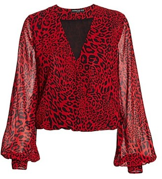 Generation Love Dory Leopard-Print Semi-Sheer Blouse
