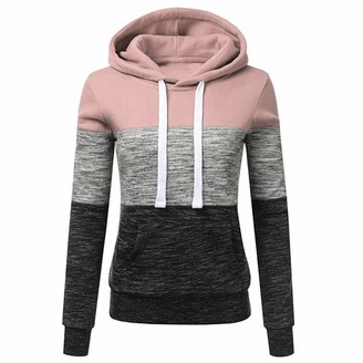 Beetlenew Women's Hoodies Patchwork Color Block Sweatshirt with Kangaroo Pocket Long Sleeve Fall Casual Striped Tops Sport Workout Fitness Hooded Pullover Drawstring Jumper Hoody Pink