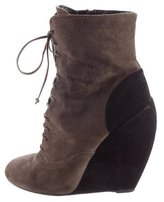 Alaia Suede Wedge Ankle Boots