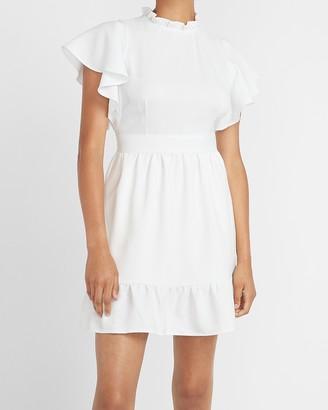 Express Ladygang Ruffle Neck Flutter Sleeve Dress