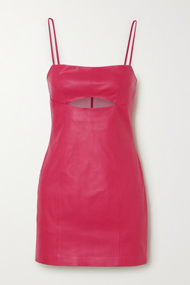 ZEYNEP ARCAY Cutout Leather Mini Dress - Fuchsia
