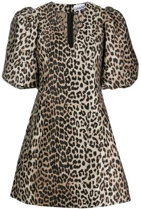 Ganni leopard print V-neck dress