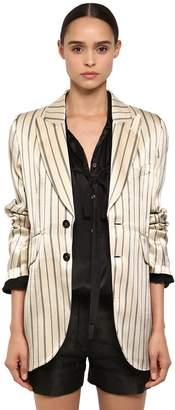 Ann Demeulemeester Striped Cotton Viscose Satin Blazer