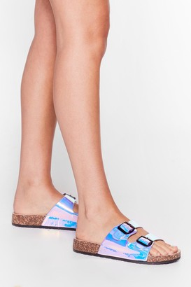 Nasty Gal Womens Doing Just Shine Holographic Buckle Sandals - Blue