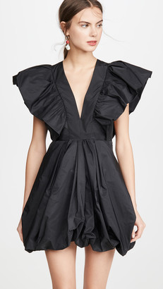 Philosophy di Lorenzo Serafini V Neck Mini Dress with Exaggerated Shoulders