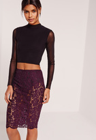 Missguided Lace Midi Skirt With Knickers Purple
