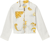 Versace White and Gold Baroque Print Bomber Jacket