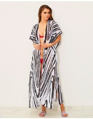 Candypants Outlet Zebra Print Maxi Chiffon Kimono