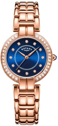 Rotary EXCLUSIVEBlue Sunray and Swarovski Dial Rose Gold Stainless Steel Bracelet Ladies Watch