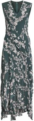 BCBGMAXAZRIA Mixed Print Asymmetric Dress