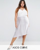 Asos Midi Skirt in Satin with Splices