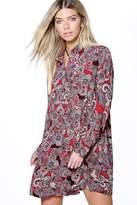 boohoo Sally Paisley Long Sleeve Shirt Dress red