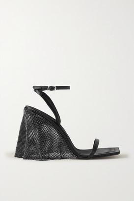 Alexander Wang Blake Crystal-embellished Chainmail-trimmed Satin Sandals - Black