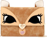 Betsey Johnson Fawn Face Faux-Leather Clutch Bag, Tan
