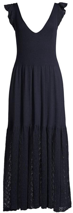 Rebecca Taylor Ruffle-Trim Ponte Dress