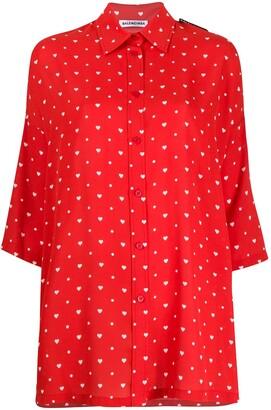 Balenciaga Heart Polka-Dots Print Shirt