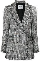 MSGM embroidered blazer - women - Silk/Cotton/Acrylic/Virgin Wool - 40