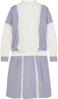Sacai Lace-trimmed striped cotton dress