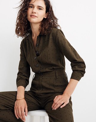 Madewell Seamed Coverall Jumpsuit in Grid Dot