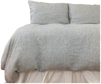 Superior Custom Linens Denim and White Striped Linen Duvet Cover, Full/Queen 3-Piece Set