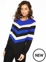 Wallis Petite Chevron Colour Block Jumper