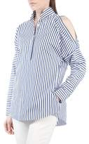 Akris Punto Stripe Cold Shoulder Blouse