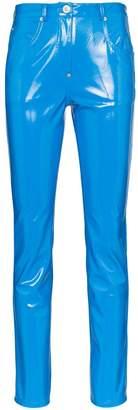 pushBUTTON vinyl high-waist trousers