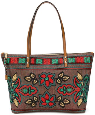 Etro Embroidered Floral Shopper Tote