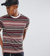Reclaimed Vintage Inspired Ringer T-Shirt In Burgundy Zig Zag