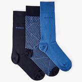Hugo Boss Boss Plain Stripe Socks Gift Box, Pack Of 3, Navy