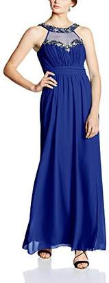 Little Mistress Women's Embellished Trim Maxi Plain Sleeveless Dress,6