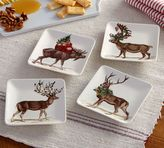 Pottery Barn Silly Stag Appetizer Plate, Mixed Set of 4