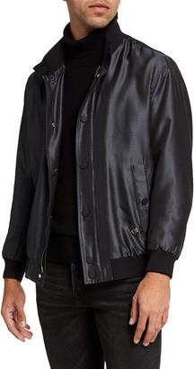 Stefano Ricci Men's Silk Snap-Front Bomber Jacket