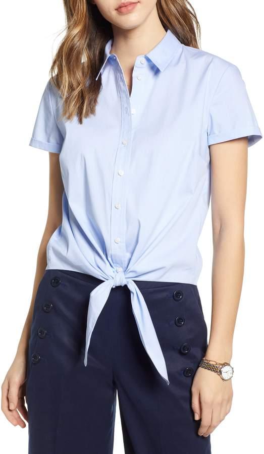 1901 Tie Front Button Down Poplin Shirt