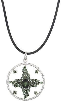 Overstock Enzo White Gold Green Tourmaline & Diamond Enhancer Pendant Necklace