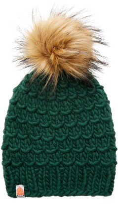 Sh*T That I Knit The Gunn Merino Wool Beanie with Removable Faux Fur Pompom