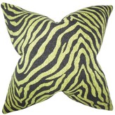 "Grady Zebra Print Throw Pillow The Pillow Collection Color: Green, Size: 18"" x 18"""