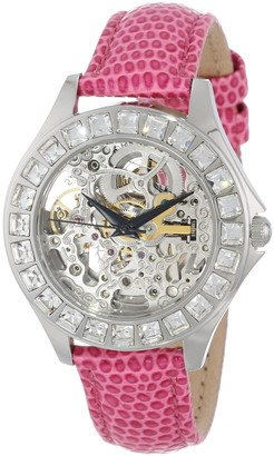 Burgmeister Merida Women's Automatic Watch with Silver Dial Analogue Display and Pink Leather Strap BM520-108