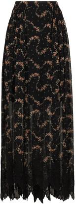 Paco Rabanne Floral-Print Sheer Maxi Skirt