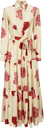 La DoubleJ Bellini Tiered Floral-Print Silk Maxi Dress