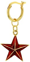 True Rocks Red Enamel & 18 Carat Gold Plated Star Earring On Gold Hoop