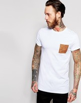 Asos Longline Muscle T-shirt With Faux Suede Pocket And Roll Sleeve In White