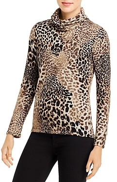 Elan International Leopard Cowl Neck Sweater