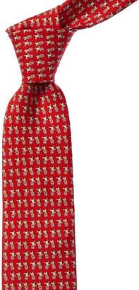 Salvatore Ferragamo Red Dogs Silk Tie