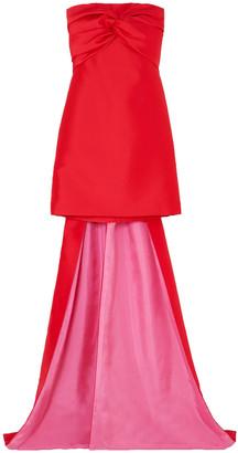 Reem Acra Strapless Twist-front Satin Mini Dress